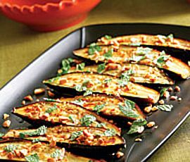 Grilled Eggplant with Garlic-Cumin Vinaigrette with Feta & Herbs