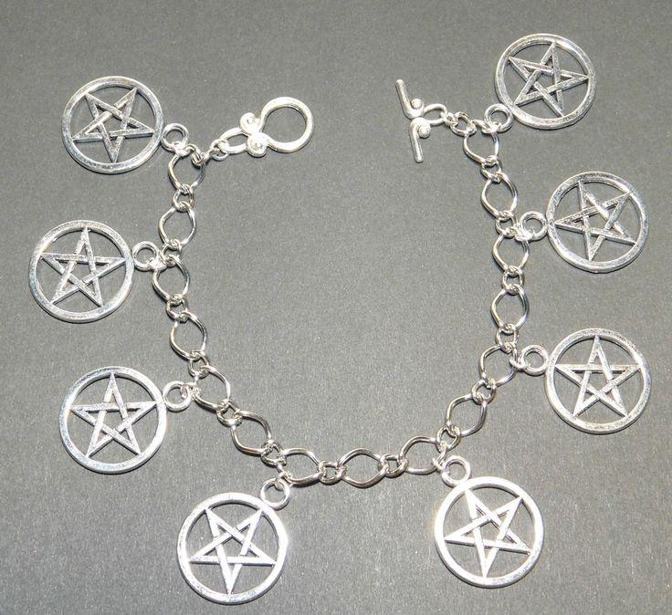 Pentagram Pentacle Wicca Pagan Sabbat Charm Bracelet - Handmade in UK