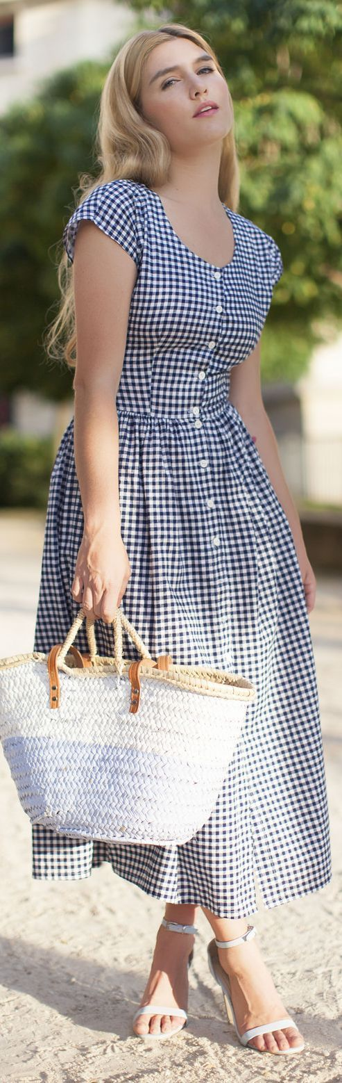 @roressclothes clothing ideas #women fashion Blue And White Gingham Vintage Inspired Button Up Fit And Flare Maxi Dress