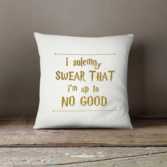 Movie quote, Pillow cover 16x16, Harry Potter, Up to no good, Home decor, Throw pillow, Pillow cover, Birthday gift idea, gift for kids
