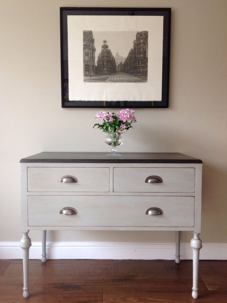 Vintage French Style Painted Annie Sloan Paris Grey Lowboy Chest Of Drawers Hall Side TV Table Unit by ClyneCoFurniture on Etsy