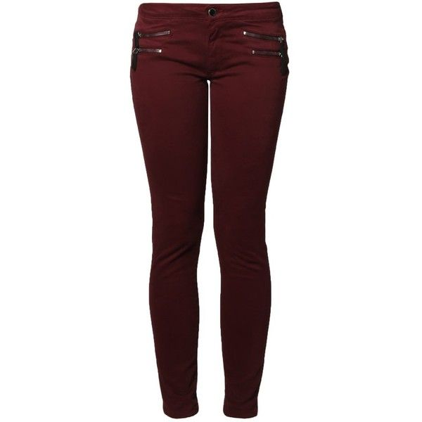 Kaporal Slim fit jeans bordeaux ($55) ❤ liked on Polyvore featuring jeans, pants, bottoms, dark red, red slim jeans, kaporal jeans, slim fit jeans, print jeans and red jeans