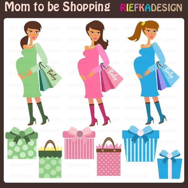 Mom to be Shopping Clipart by riefka on Etsy https://www.etsy.com/uk/listing/67346871/mom-to-be-shopping-clipart