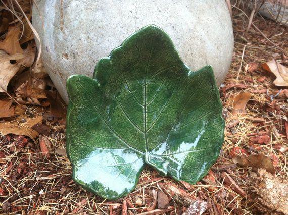 Hand Crafted Ceramic Grape Leaf Bowl by #elfWorksLane on Etsy, $44.99