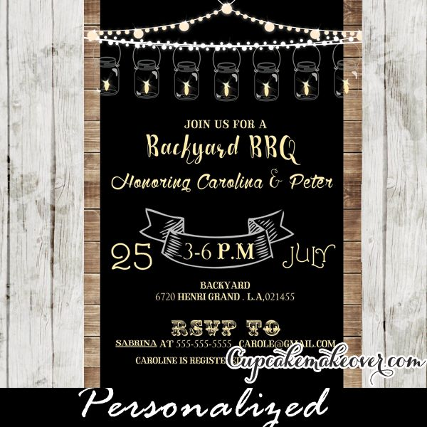 backyard bbq baby shower invitations rustic wood