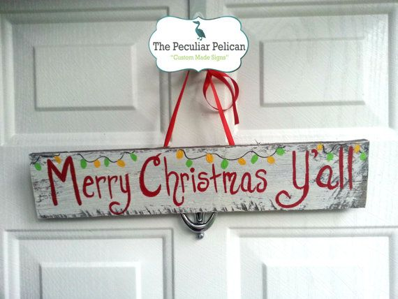 Merry Christmas Y'all - CUSTOM, SOUTHERN, CHRISTMAS, holiday, southern sign, southern saying, rustic sign on Etsy, $13.00