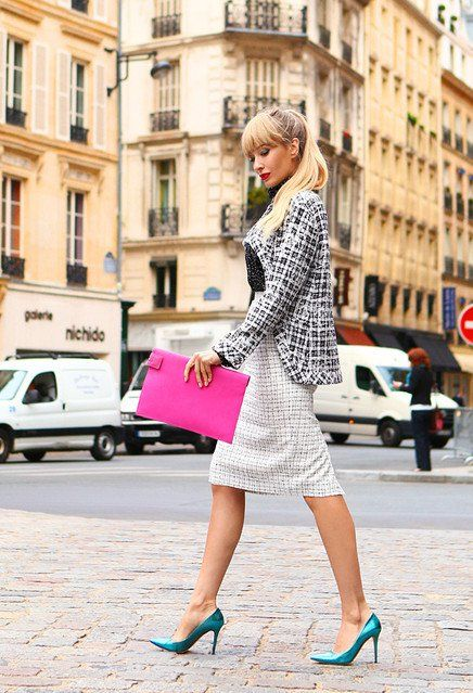 @roressclothes closet ideas #women fashion Plaid Blazer Outfit with a Fuchsia Clutch