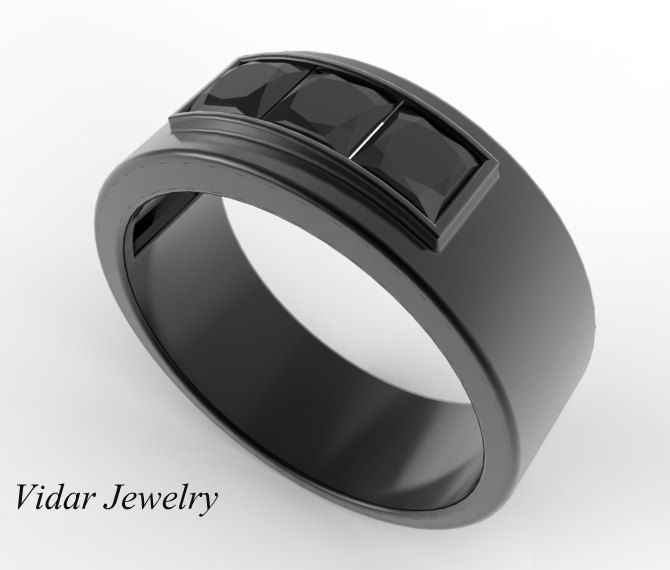 mens wedding band unique black gold ring with princess cut black diamond channel setblack - Man Wedding Rings