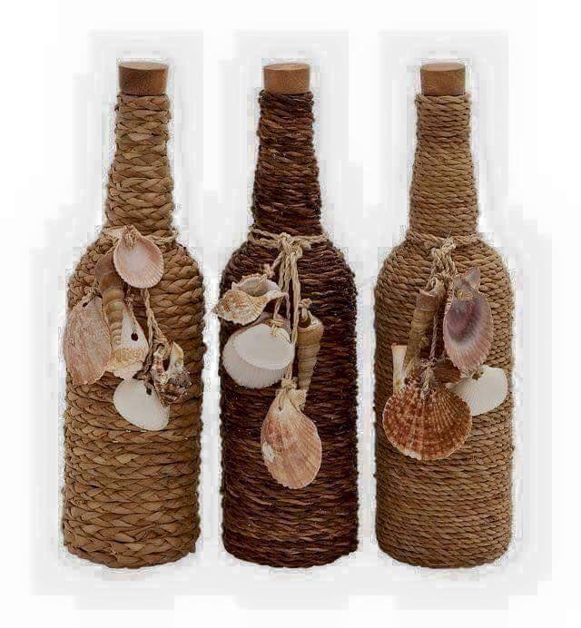 deko aus alten flaschen bottles pinterest deco bord de mer bouteille et r cup. Black Bedroom Furniture Sets. Home Design Ideas