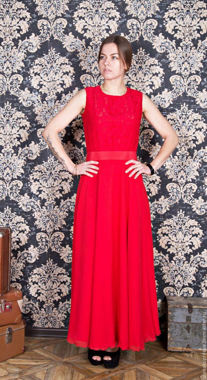 Купить Платье длинное с кружевом - платье, вечернее платье, платье вечернее, кружевное платье