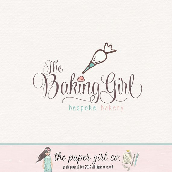 piping bag logo baking logo bakery logo premade by ThePaperGirlCo