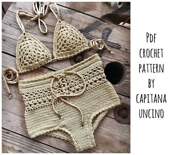 This listing is PDF CROCHET PATTERN for Angela Bikini Top and Highwaist Bottom, NOT finished item:) Skill level: EASY, INTERMEDIATE You should know the basic stiches: chain stitch, single crochet, slip stitch, double crochet. All the other sticthes used in the pattern are explained. This pattern is written in standard American terms and includes 130+ photos in total of the process and also crochet CHARTS for THE TOP for EACH SIZE!. The second picture is with Indira top, also pattern for…
