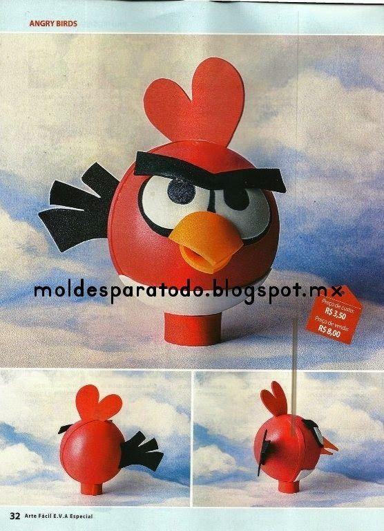 Moldes para Todo: Fofulápiz Angrybirds rojo