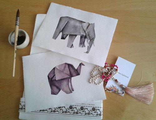 Sloni. sada dvou originálních akvarelů