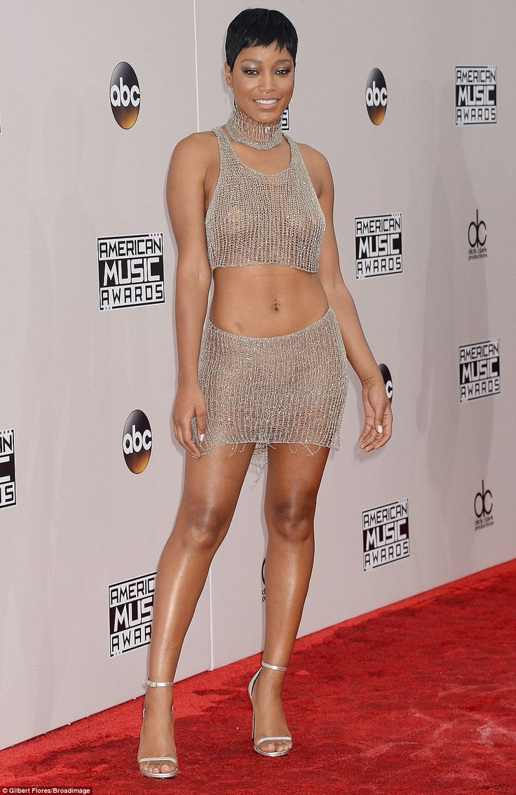 Scantily clad: Keke Palmer left little to the imagination in a mesh two-piece Natalia Fedner dress