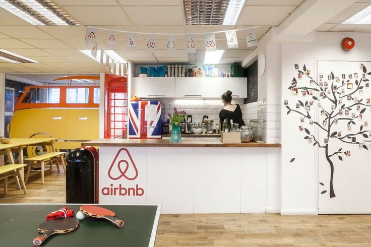 airbnbs london office is based in a converted warehouse in clerkenwell with a design emphasising the buildings industrial roots and english the airbnb london office design