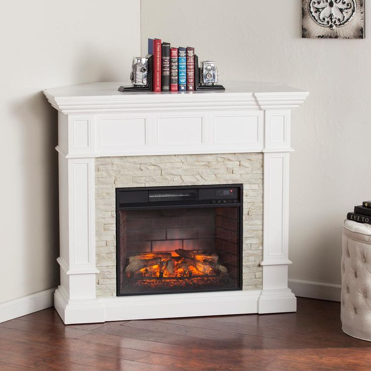 Amesbury 45.5 in. W Corner Convertible Infrared Electric Fireplace in White-HD91142 - The Home Depot