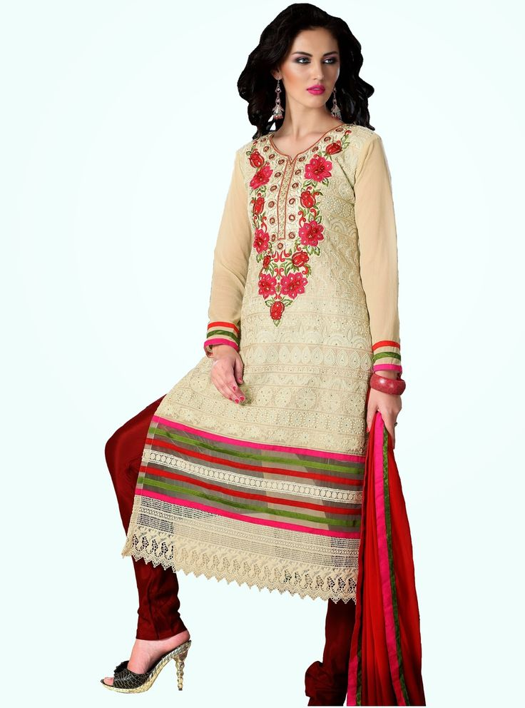 Party Wear Beige and Red Heavily Embroidered Chanderi Cotton Suit. Comes along with Santoon Bottom and Viscose Dupatta.