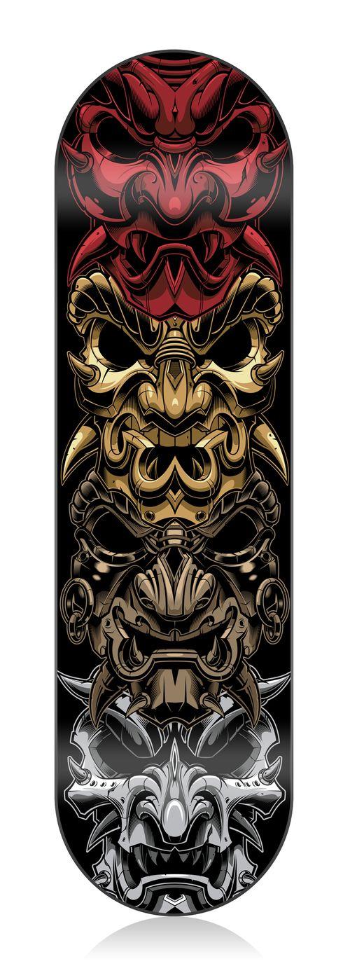 Skatedeck samurai vector illustration   http://www.sweyda.com/