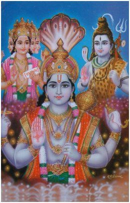 Dans l'iconographie hindou, Brahma, Vishnu et Shiva représentent la trimurti (trinité) : le premier crée, le deuxième préserve et le troisième détruit.