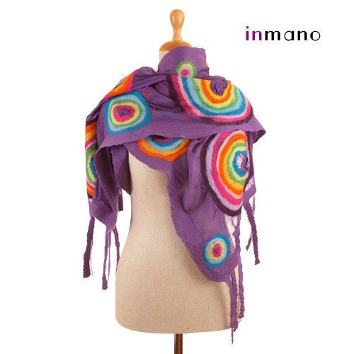 artistic nuno felted scarf orchid and colour circles by inmano