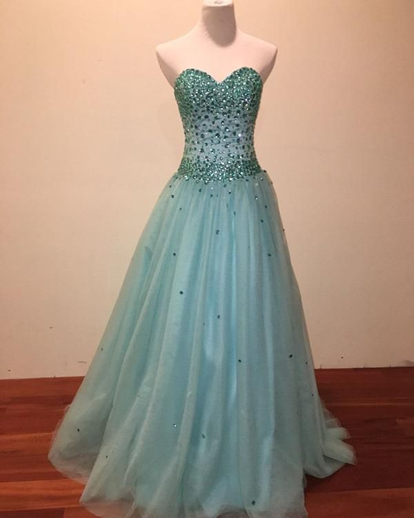 d840478b562 Beautiful Mint Tulle Prom Dresses Beadings Sweetheart 2018 Long Prom Gowns  for Party
