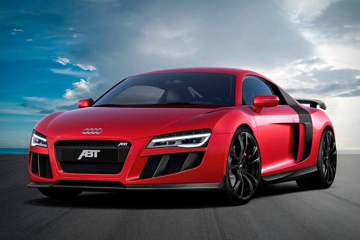 ABT Audi R8 V10 Increased horsepower from 525 to 600, good for a 0-62 time of 3.5 seconds and a top speed just short of 200 mph. The upgraded R8 also features a new aero kit, new 19-inch wheels, a new exhaust system, and new suspension springs that lower the car slightly, providing even better handling.