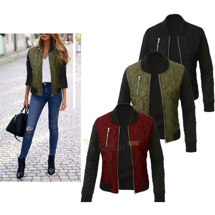 Women's Classic Bomber Jacket Ladies Vintage Zip Up Biker Coat Plus Size S-3Xl