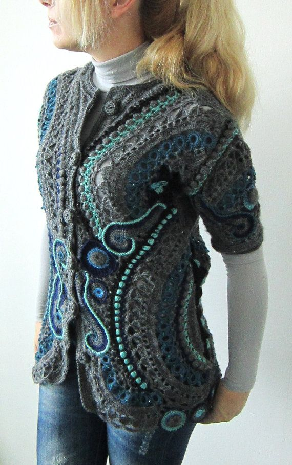 Winter blue freeform crochet handmade sweater/vest/cardigan