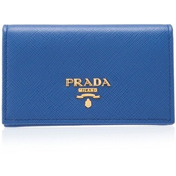Prada Saffiano Metal Card Holder ($310) ❤ liked on Polyvore featuring bags, wallets, blue, blue bag, card carrier wallet, prada bags, hardware bag and card holder wallet