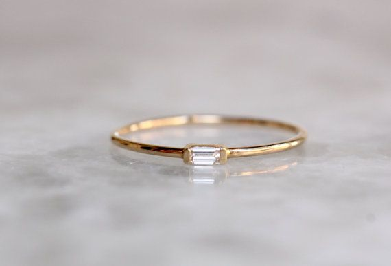 14k Tiny Baguette Diamond Ring, Solid Gold Ring, White Gold, Yellow Gold, Stacking Ring, Recangle Diamond, Gifts for her, Dainty Ring,