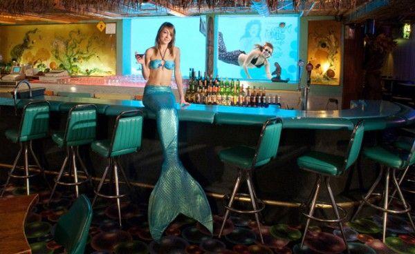 """O que acontece em Las Vegas, realmente fica por lá, afinal, muitas das atrações da cidade não são facilmente encontradas por aí. É o caso do barMermaid Lounge, dentro do hotel e cassino Silverton, onde sereias fazem performances para o público dentro de um aquário de 117 mil litros de água, onde vivem 4 mil peixes, tubarões, arraias e corais. Segundo a administração local, este é o lugar """"onde os peixes e humanos coexistem com elegância"""". A temática subaquática permeia toda a decoração e…"""
