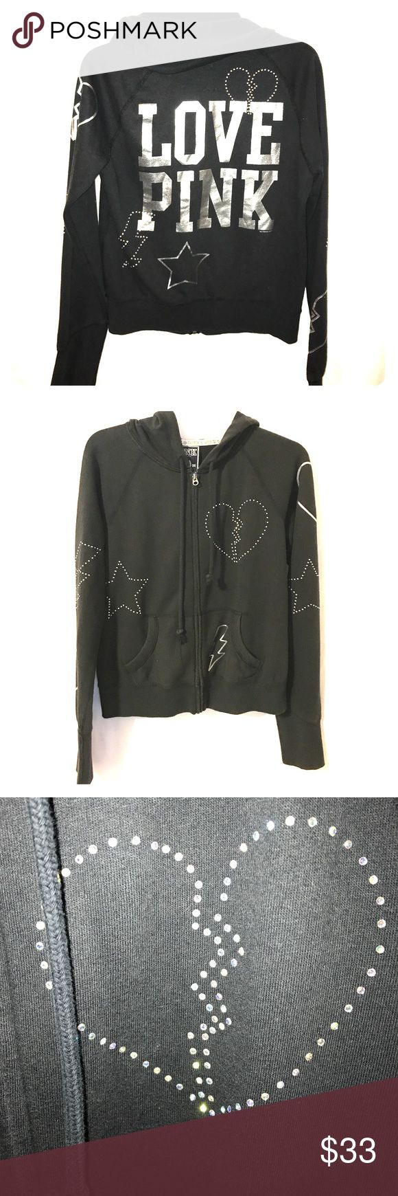 PINK Hoodie Awesome black, zip up hoodie with bling & silver graphics PINK Victoria's Secret Tops Sweatshirts & Hoodies