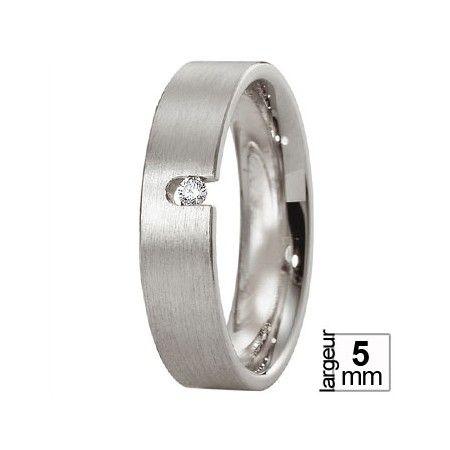 Alliance de mariage Platine et Diamant pour homme