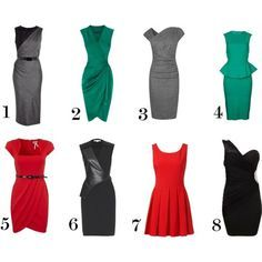 I really like these dresses for rectangular shapes, especially numbers 2, 3, 5, and 8.