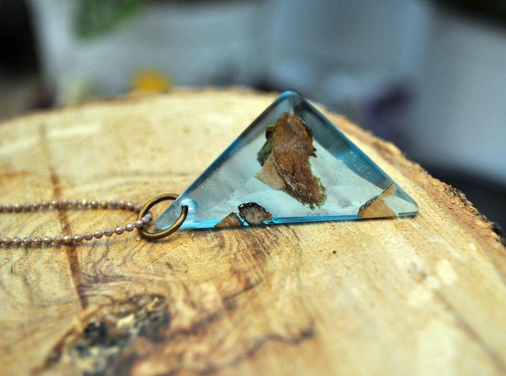 Wooden Jewellery Blue Olive Wood Necklace Unique by MavouShop