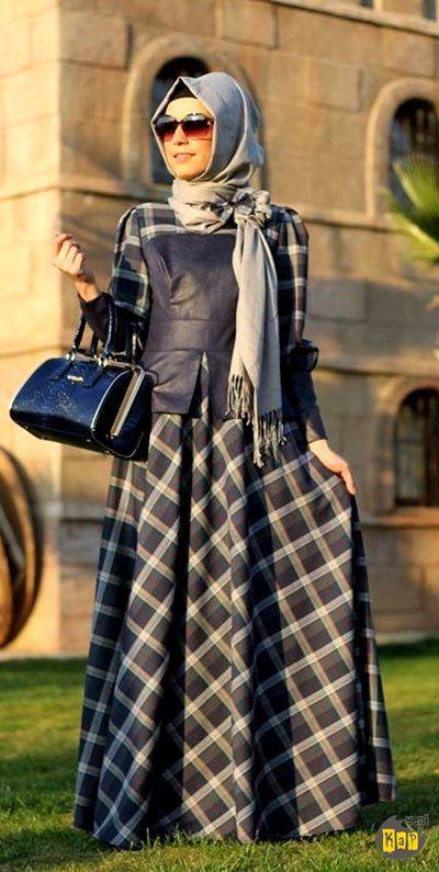 Zehrace Tesettür Ekose Elbise | Armine | Aker | Kayra | Setrms