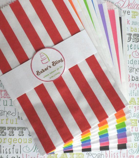Rainbow Stripe Paper Favor Bags  Candy Buffets by BakersBlingShop, $10.95