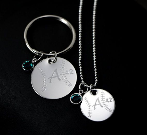 Personalized baseball necklace with matching baseball keychain Set.  Buy this set and you will receive one necklace with a 3/4 stainless steel