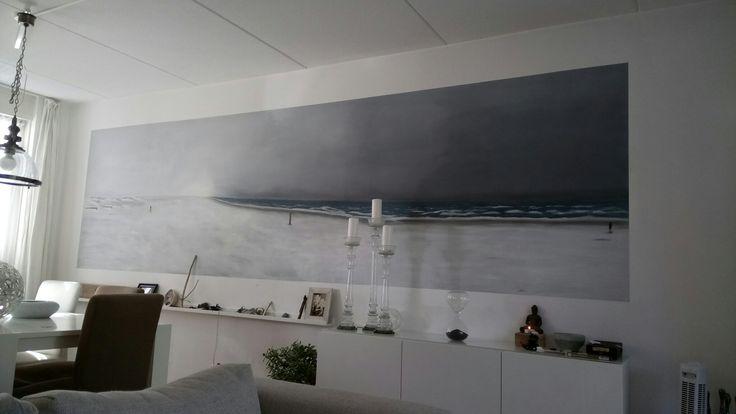 Winter strand muurschildering