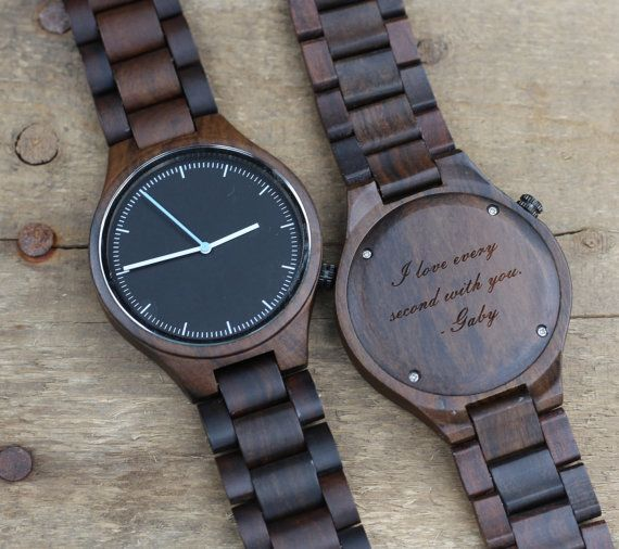 engraved wood wrist watch for dad