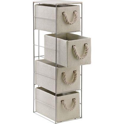 4 Drawer Cream Rope Handled Storage Unit