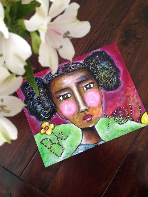 """""""Be You"""" mixed media canvas  natural hair art"""