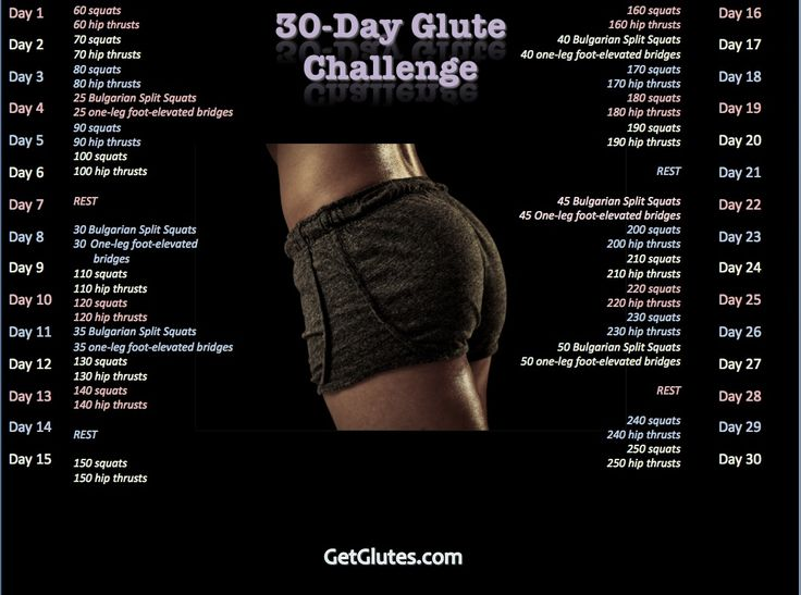 "Forget the squat challenge. Do Bret Contreras' 30 Day Glute Challenge. They call him ""The Glute Guy"" for a reason :)"