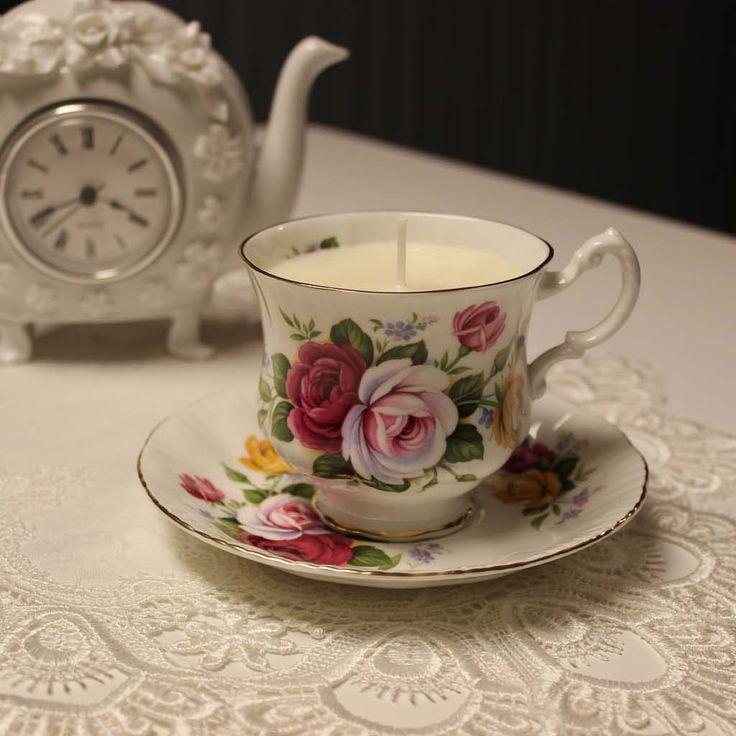 Teacup 0052 Secret Garden Scent  Lavender, Rose & Vanilla essential oils | Beautiful Daisy Designs.
