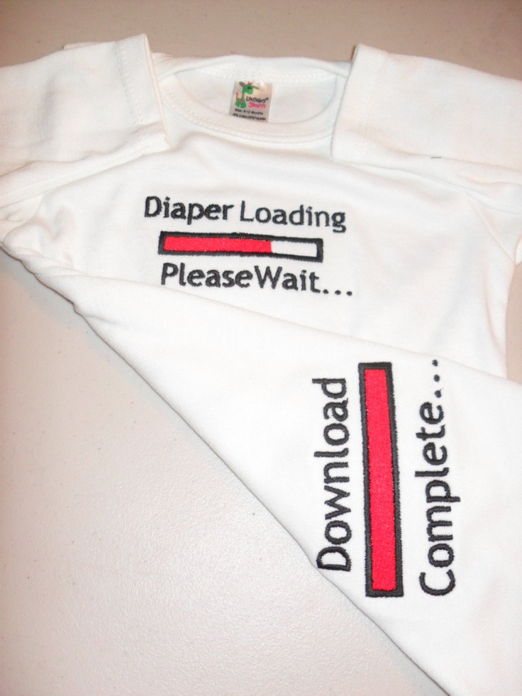 Funny Baby Onesie Boy/Girl 0-3 months to 24 months Embroidered Onesie Diaper Loading Please Wait Baby And Download Complete Shower Gift. $20.00, via Etsy.