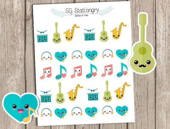 Kawaii MUSIC Stickers MUSIC Planner Stickers Erin by SGStationery