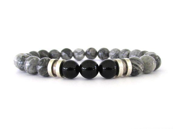 Gris bijoux - gris Bracelet - Bracelet extensible - Bracelets pour homme - M2830 Jasper de Bracelet - Bracelet perle homme - hommes