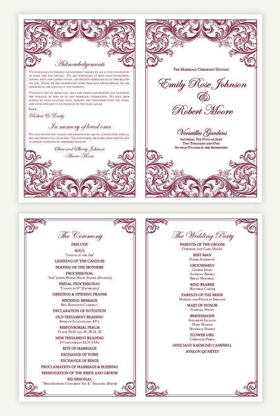 DIY Wedding Ceremony Program Template by WeddingsbyJanieV on Etsy