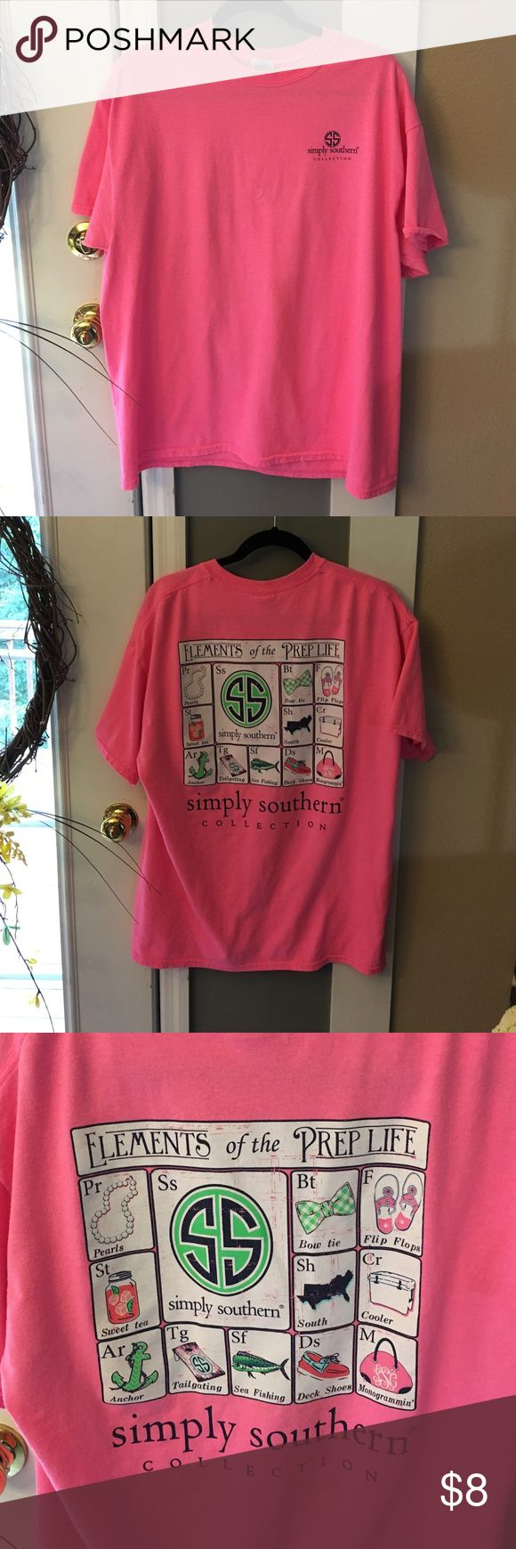 Simply Southern Pink Prep Life Tee Great condition, cute pink with prep life design on back. Material is cotton and polyester Simply Southern Tops Tees - Short Sleeve